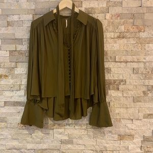 Free people olive colored shirt